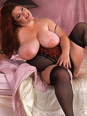 Naked obese redhead and her favorite rubber friend