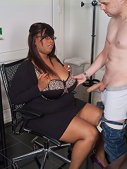 Gorgeous black BBW boss seduces her future employee into dicking her wet holes hard