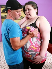 BBW babe Angie Luv acts shy but soon shows off her greed for sex and swallowing stiff dicks